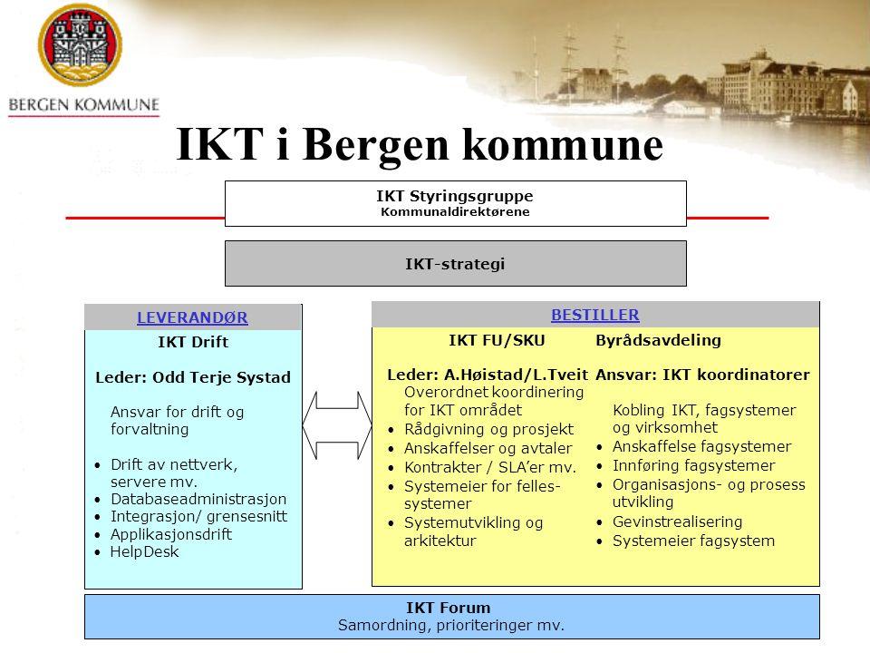 IKT i Bergen kommune IKT Drift Leder: Odd Terje Systad Ansvar for drift og forvaltning Drift av nettverk, servere mv.