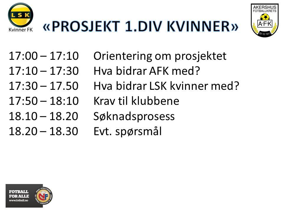 17:00 – 17:10 Orientering om prosjektet 17:10 – 17:30Hva bidrar AFK med.