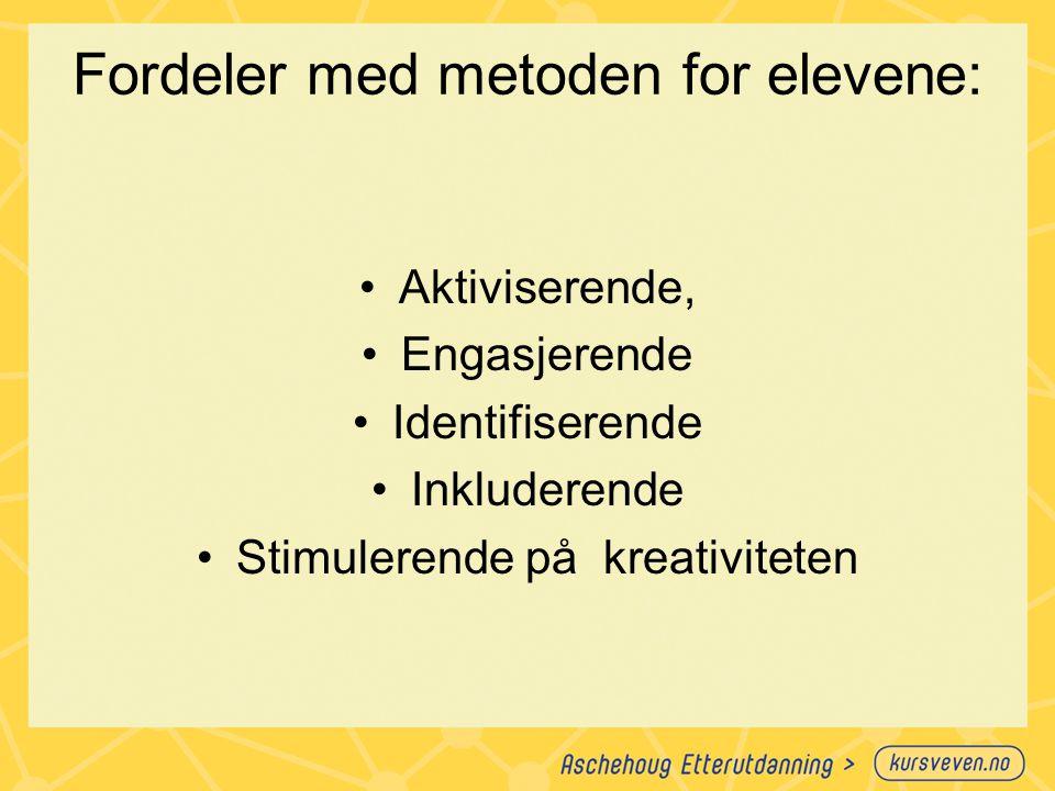 Fordeler med metoden for elevene: Aktiviserende, Engasjerende Identifiserende Inkluderende Stimulerende på kreativiteten