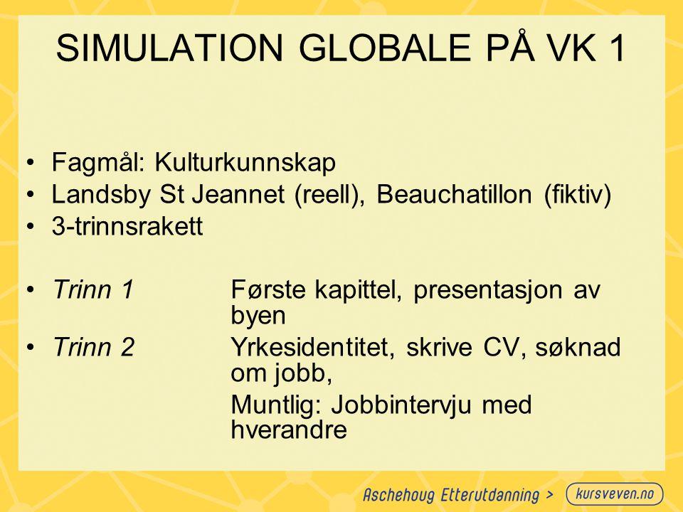 SIMULATION GLOBALE PÅ VK 1 Fagmål: Kulturkunnskap Landsby St Jeannet (reell), Beauchatillon (fiktiv) 3-trinnsrakett Trinn 1Første kapittel, presentasj
