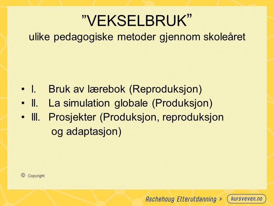 """""""VEKSELBRUK """" ulike pedagogiske metoder gjennom skoleåret l.Bruk av lærebok (Reproduksjon) ll.La simulation globale (Produksjon) lll.Prosjekter (Produ"""