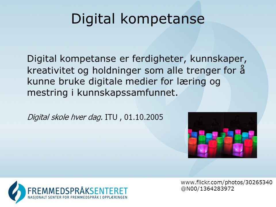 Digital kompetanse Digital kompetanse er ferdigheter, kunnskaper, kreativitet og holdninger som alle trenger for å kunne bruke digitale medier for læring og mestring i kunnskapssamfunnet.