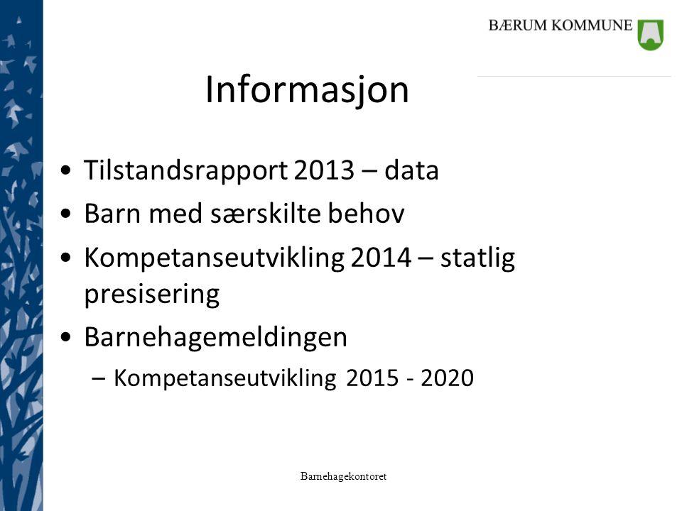 Barnehagekontoret Informasjon Tilstandsrapport 2013 – data Barn med særskilte behov Kompetanseutvikling 2014 – statlig presisering Barnehagemeldingen –Kompetanseutvikling 2015 - 2020