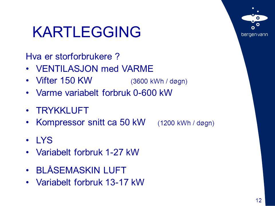 12 Hva er storforbrukere ? VENTILASJON med VARME Vifter 150 KW (3600 kWh / døgn) Varme variabelt forbruk 0-600 kW TRYKKLUFT Kompressor snitt ca 50 kW