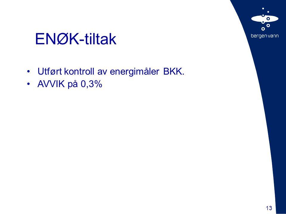 13 Utført kontroll av energimåler BKK. AVVIK på 0,3% ENØK-tiltak