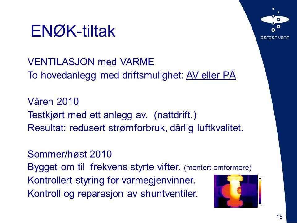 15 VENTILASJON med VARME To hovedanlegg med driftsmulighet: AV eller PÅ Våren 2010 Testkjørt med ett anlegg av. (nattdrift.) Resultat: redusert strømf