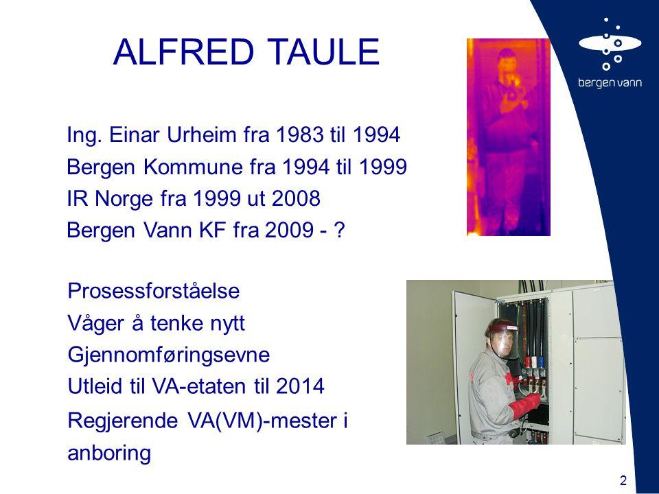 2 ALFRED TAULE Ing. Einar Urheim fra 1983 til 1994 Bergen Kommune fra 1994 til 1999 IR Norge fra 1999 ut 2008 Bergen Vann KF fra 2009 - ? Prosessforst
