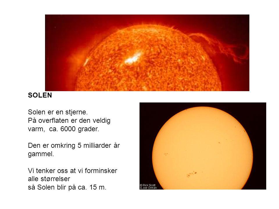 SOLEN Solen er en stjerne.På overflaten er den veldig varm, ca.
