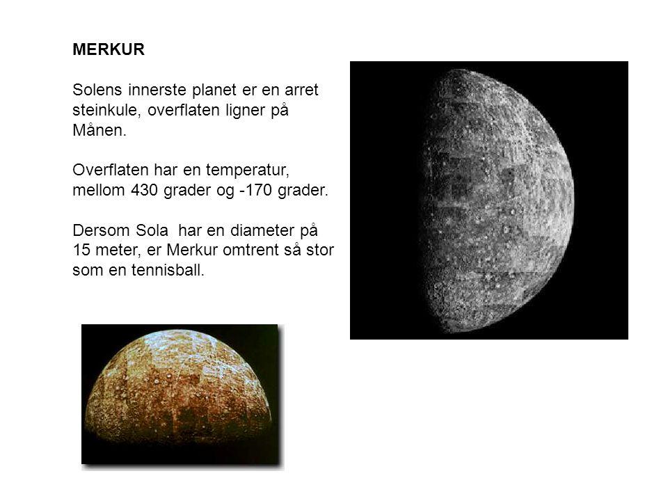MERKUR Solens innerste planet er en arret steinkule, overflaten ligner på Månen.