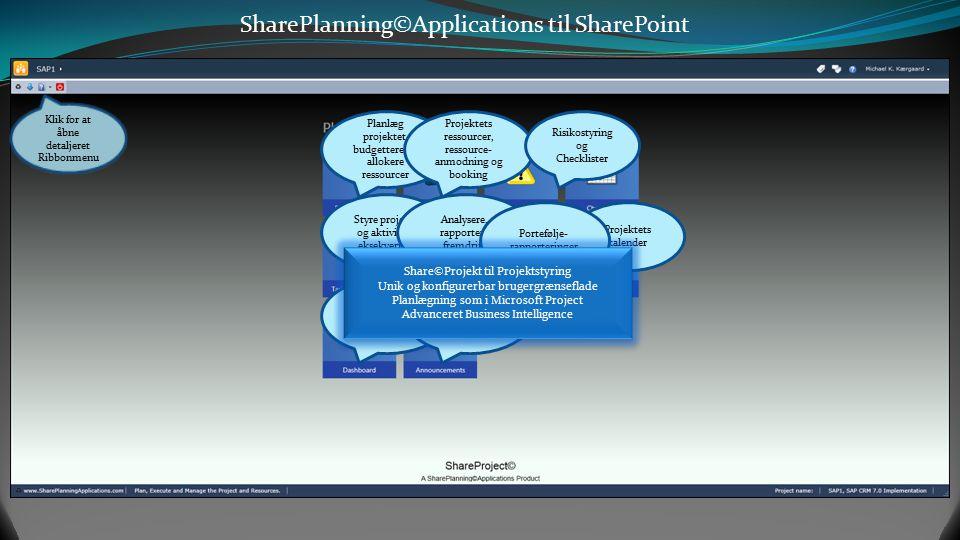 SharePlanning©Applications til SharePoint Projekt- Styring Planlæg projektet med Grid og Ganttkort Budgettere timer, omkostninge r og allokere ressour