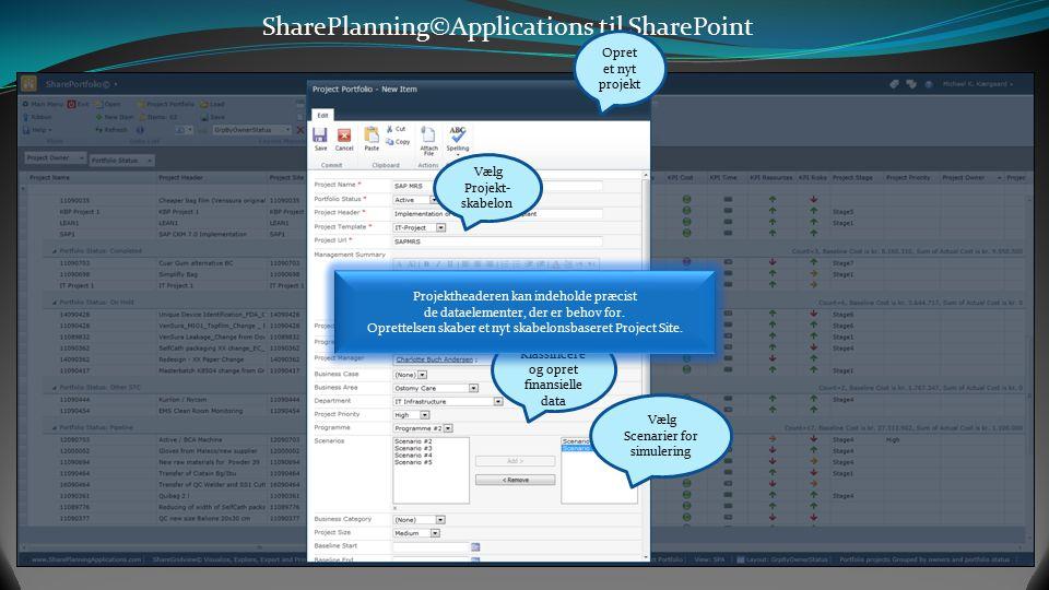 SharePlanning©Applications til SharePoint Opret et nyt projekt Vælg Projekt- skabelon Klassificere og opret finansielle data Vælg Scenarier for simulering Projektheaderen kan indeholde præcist de dataelementer, der er behov for.