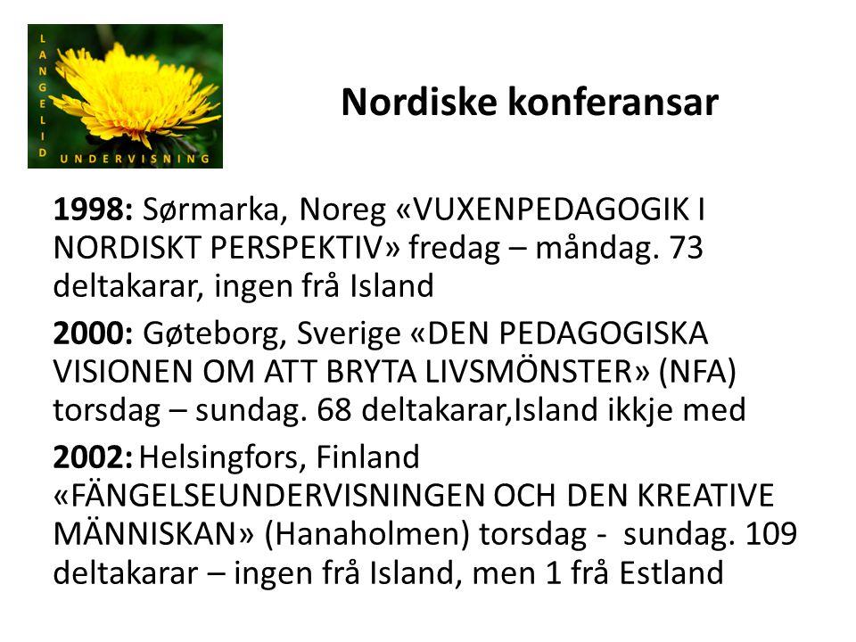 Nordiske konferansar 1998: Sørmarka, Noreg «VUXENPEDAGOGIK I NORDISKT PERSPEKTIV» fredag – måndag. 73 deltakarar, ingen frå Island 2000: Gøteborg, Sve