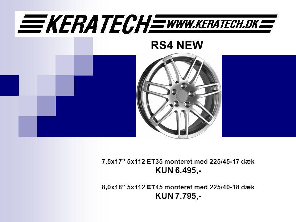 RS4 NEW 7,5x17 5x112 ET35 monteret med 225/45-17 dæk KUN 6.495,- 8,0x18 5x112 ET45 monteret med 225/40-18 dæk KUN 7.795,-