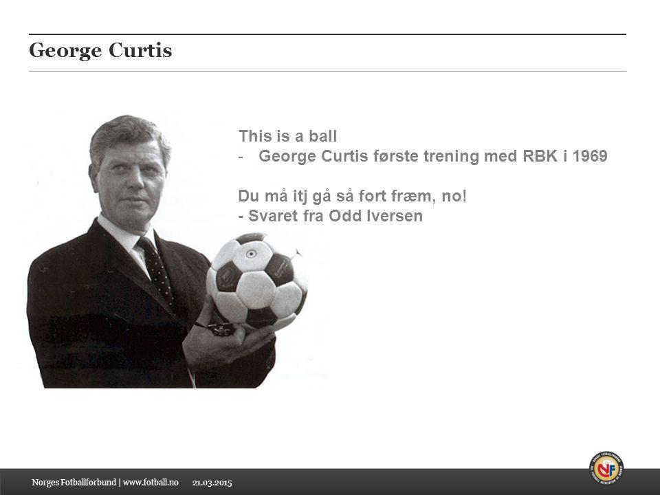 21.03.2015 George Curtis Norges Fotballforbund | www.fotball.no This is a ball -George Curtis første trening med RBK i 1969 Du må itj gå så fort fræm, no.