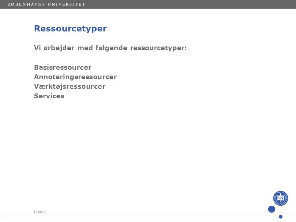 Dias 4 Ressourcetyper Vi arbejder med følgende ressourcetyper: Basisressourcer Annoteringsressourcer Værktøjsressourcer Services