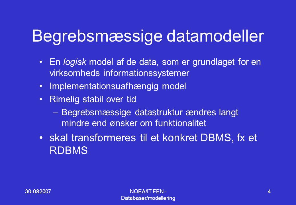 30-082007NOEA/IT FEN - Databaser/modellering 4 Begrebsmæssige datamodeller En logisk model af de data, som er grundlaget for en virksomheds informationssystemer Implementationsuafhængig model Rimelig stabil over tid –Begrebsmæssige datastruktur ændres langt mindre end ønsker om funktionalitet skal transformeres til et konkret DBMS, fx et RDBMS