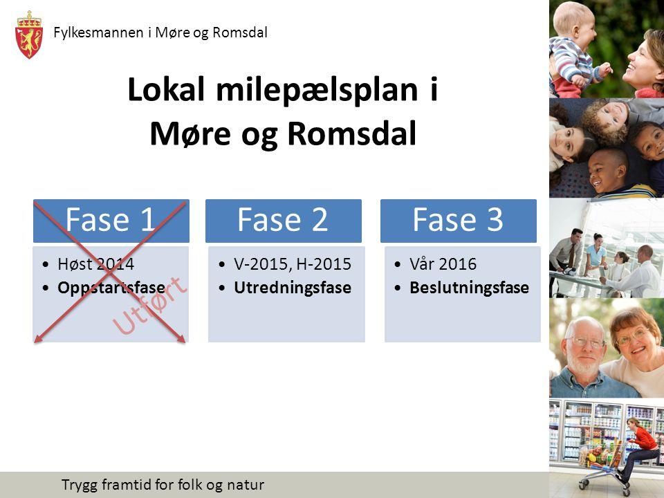 Fylkesmannen i Møre og Romsdal Trygg framtid for folk og natur Fase 1 – Oppstartsfase (gjennomført) Alle kommuner i MR har i løpet av høsten 2014 lagt fram sak for sitt kommunestyre hvor politikerne tar stilling til hvordan og hvilke tiltak man skal gjennomføre for å få til en god prosess i egen kommune.