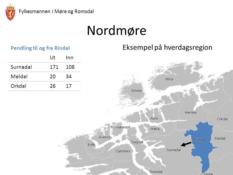 Fylkesmannen i Møre og Romsdal Nordmøre Eksempel på hverdagsregion Detaljvarehandel Dekningsgrad for varetilbud  Hvor man handler