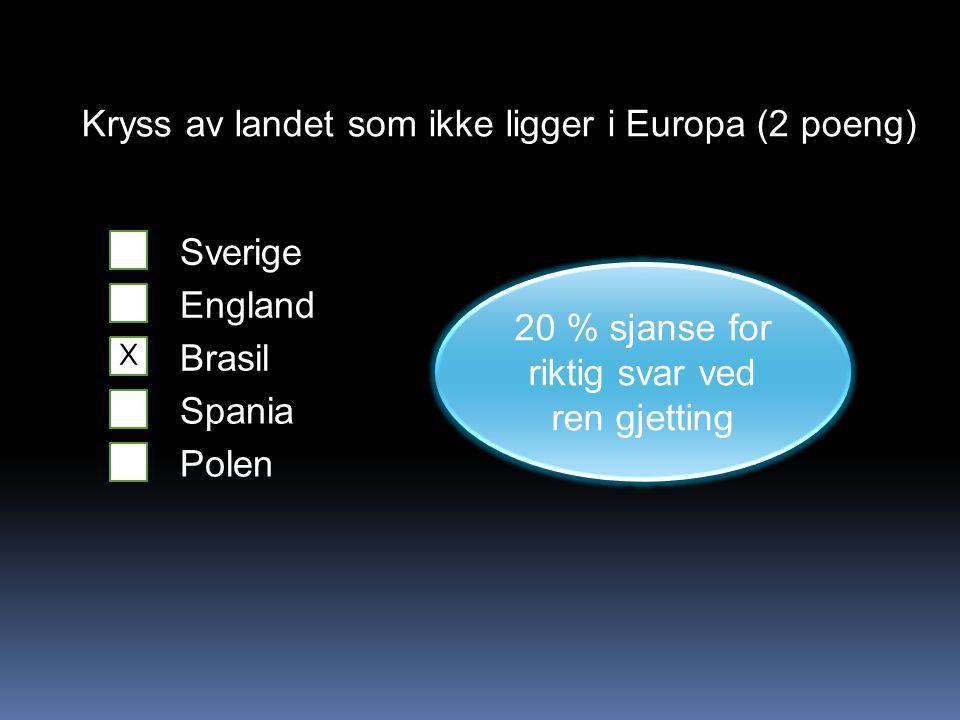 Kryss av landet som ikke ligger i Europa (2 poeng) Sverige England Brasil Spania Polen 20 % sjanse for riktig svar ved ren gjetting X