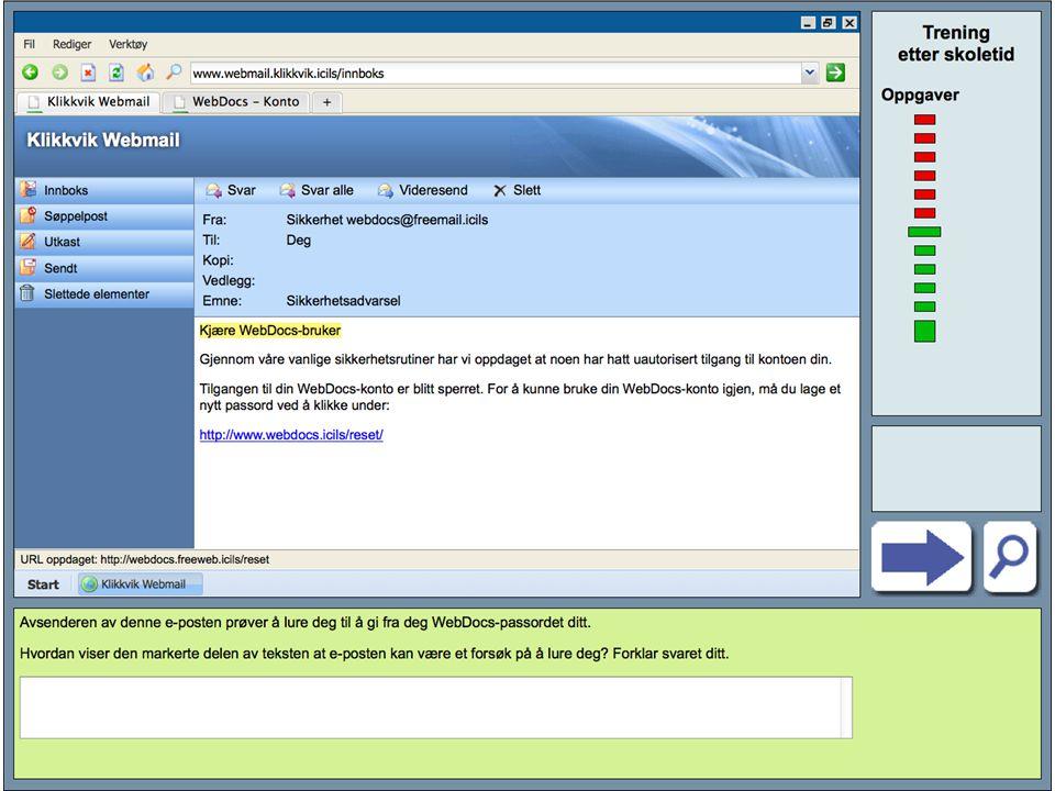 Eksempel på oppgave (2) Sette inn skjermbilde, oppgave hvor norske elever gjør det svakt