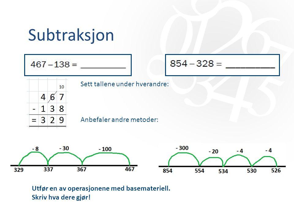 Subtraksjon Sett tallene under hverandre: Anbefaler andre metoder: Utfør en av operasjonene med basemateriell. Skriv hva dere gjør!