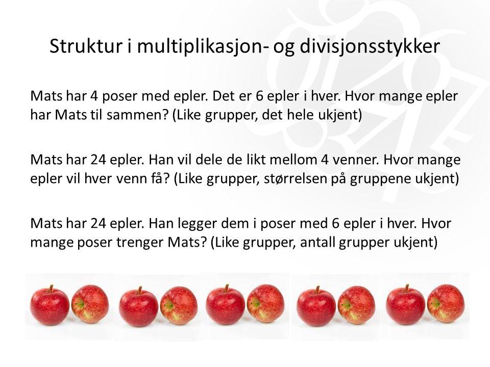 Struktur i multiplikasjon- og divisjonsstykker Mats har 4 poser med epler. Det er 6 epler i hver. Hvor mange epler har Mats til sammen? (Like grupper,