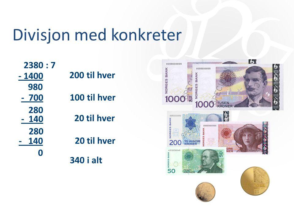 Divisjon med konkreter 2380 : 7 - 1400 200 til hver 100 til hver 20 til hver 340 i alt 980 - 700 - 140 280 0