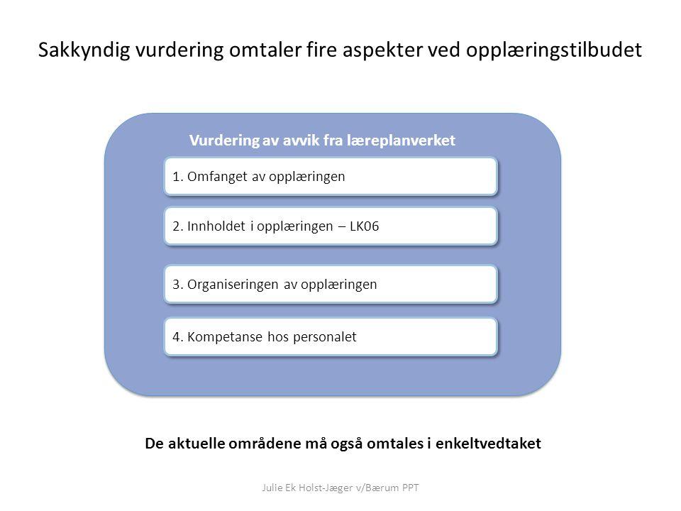 Julie Ek Holst-Jæger v/Bærum PPT Vurdering av avvik fra læreplanverket Sakkyndig vurdering omtaler fire aspekter ved opplæringstilbudet 1. Omfanget av