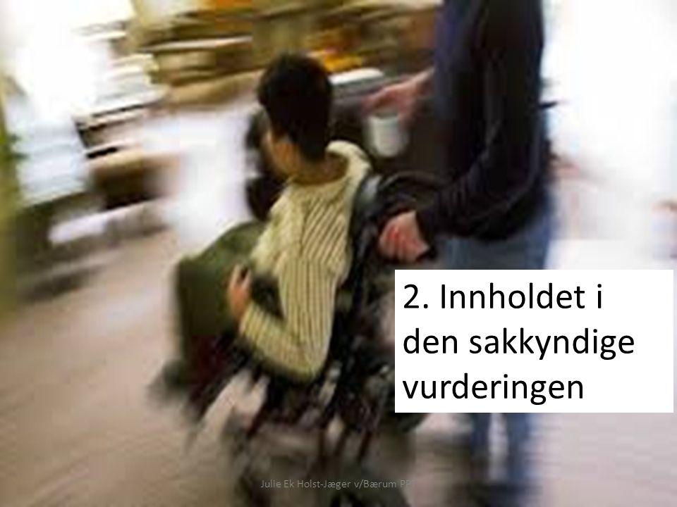 Julie Ek Holst-Jæger v/Bærum PPT Sakkyndig vurdering skal ta stilling til: Sakkyndig vurdering jfr.