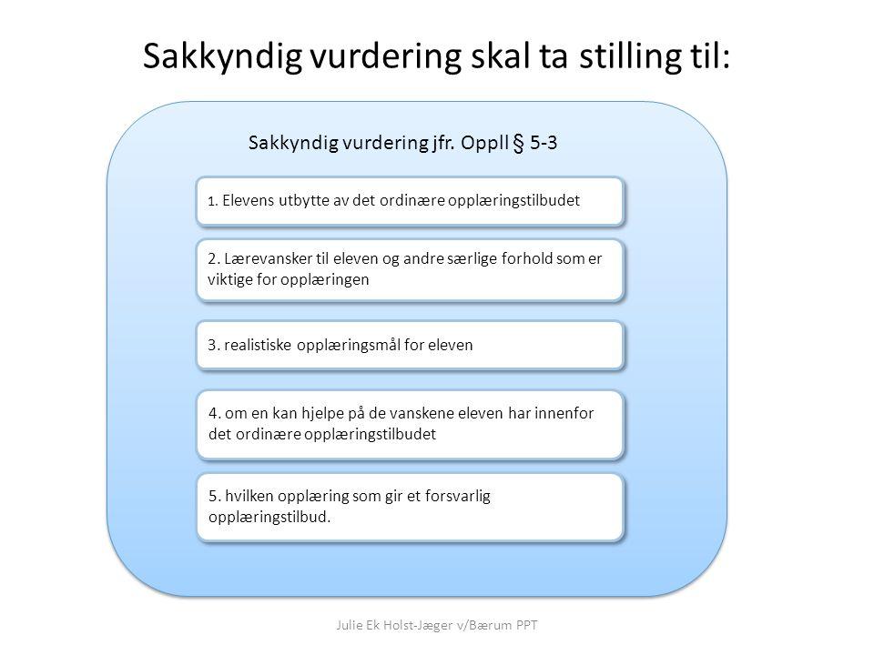 Julie Ek Holst-Jæger v/Bærum PPT Vurdering av avvik fra læreplanverket Sakkyndig vurdering omtaler fire aspekter ved opplæringstilbudet 1.
