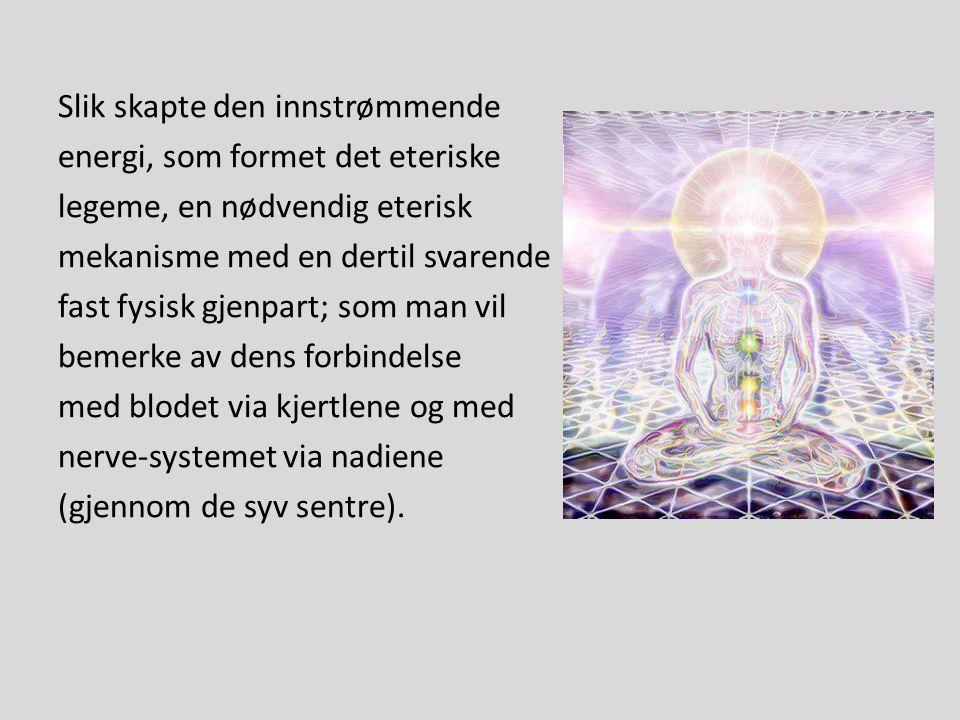 Slik skapte den innstrømmende energi, som formet det eteriske legeme, en nødvendig eterisk mekanisme med en dertil svarende fast fysisk gjenpart; som