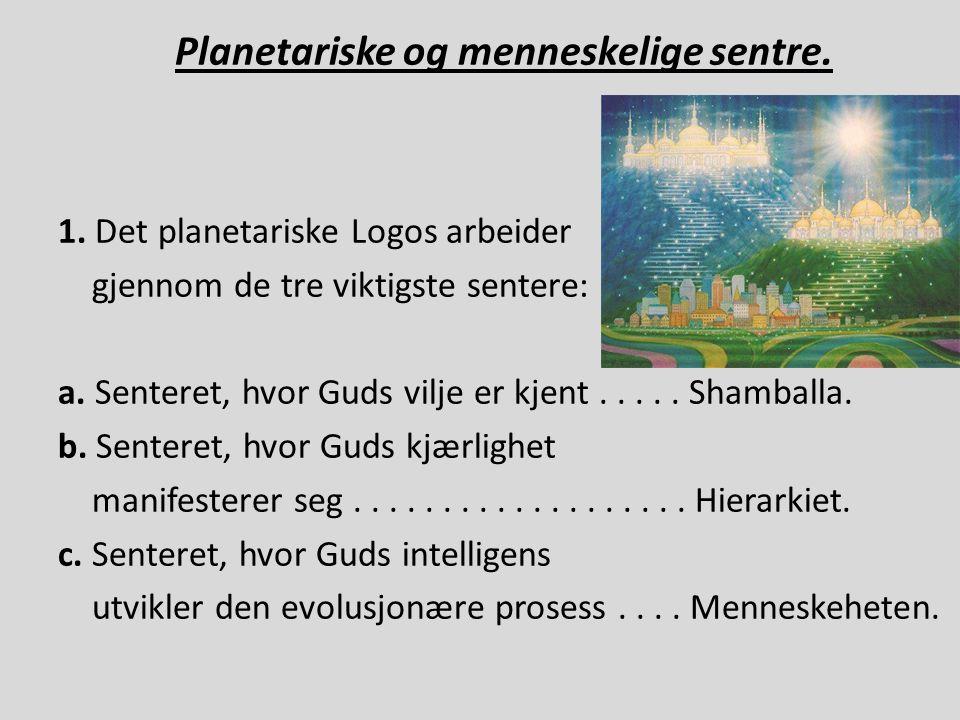 Planetariske og menneskelige sentre. 1. Det planetariske Logos arbeider gjennom de tre viktigste sentere: a. Senteret, hvor Guds vilje er kjent..... S