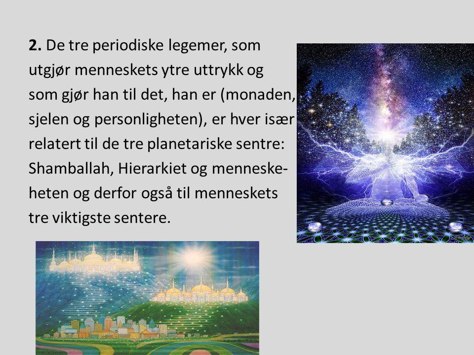 2. De tre periodiske legemer, som utgjør menneskets ytre uttrykk og som gjør han til det, han er (monaden, sjelen og personligheten), er hver især rel