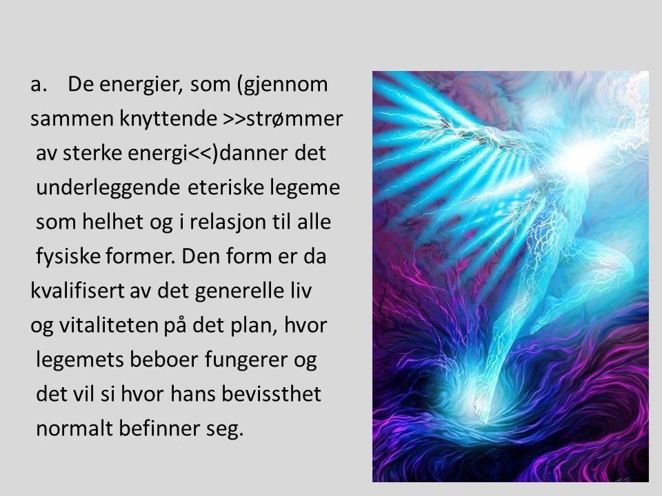 a.De energier, som (gjennom sammen knyttende >>strømmer av sterke energi<<)danner det underleggende eteriske legeme som helhet og i relasjon til alle