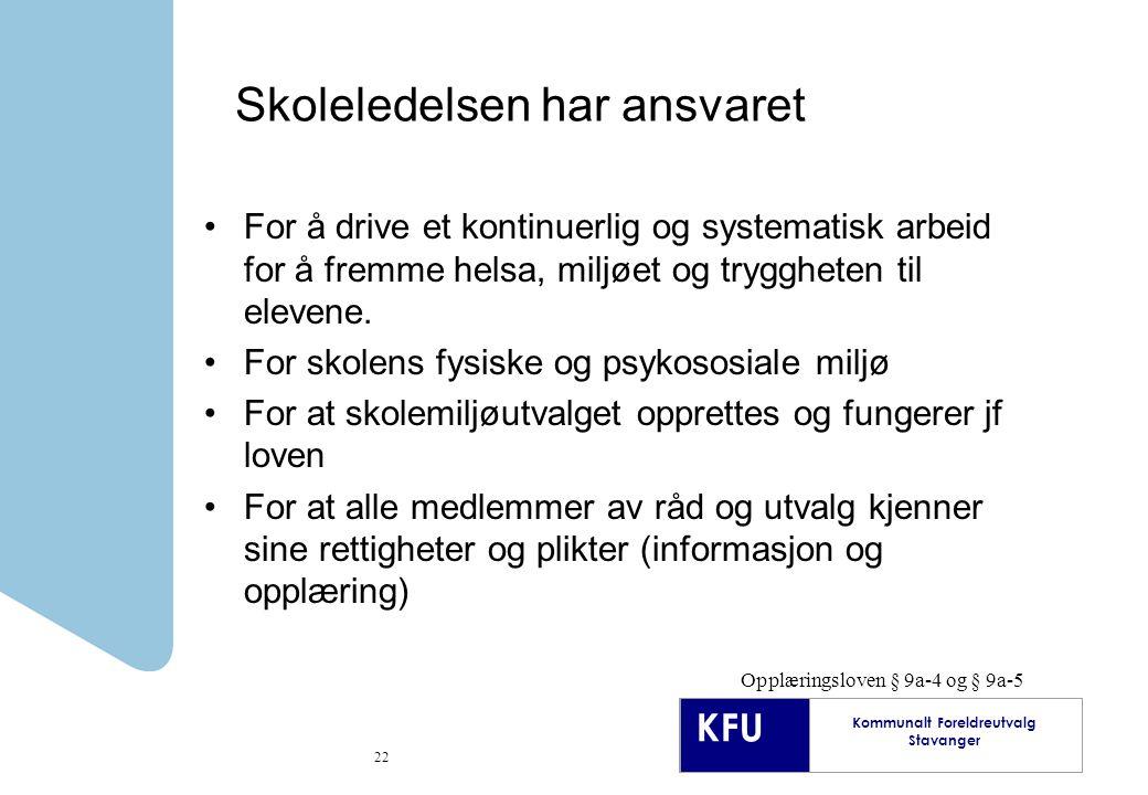 KFU Kommunalt Foreldreutvalg Stavanger 22 Skoleledelsen har ansvaret For å drive et kontinuerlig og systematisk arbeid for å fremme helsa, miljøet og tryggheten til elevene.