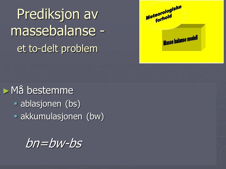 """Massebalanse modeller ► Hva brukes de til  Sensitivitetsstudier/-prognosestudier ► Temperatur, nedbør, strålingspådriv etc.  Input data og """"forcing"""""""