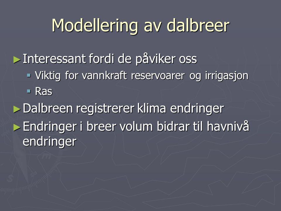Dynamiske modeller for breer ► Modellering av dalbreer  1-dimensjonale strømningslinje modeller ► Iskapper  Modeller som antar perfekt plastisk is ►