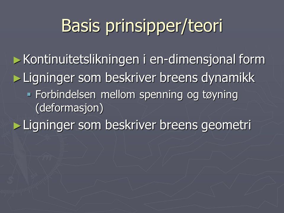 Basis prinsipper/teori ► Kontinuitetslikningen ► Ligninger som beskriver breens dynamikk  Forbindelsen mellom spenning og tøyning (deformasjon)  Kon