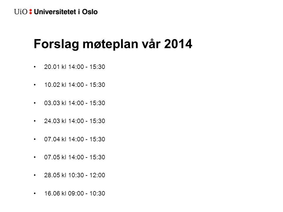 Forslag møteplan vår 2014 20.01 kl 14:00 - 15:30 10.02 kl 14:00 - 15:30 03.03 kl 14:00 - 15:30 24.03 kl 14:00 - 15:30 07.04 kl 14:00 - 15:30 07.05 kl 14:00 - 15:30 28.05 kl 10:30 - 12:00 16.06 kl 09:00 - 10:30