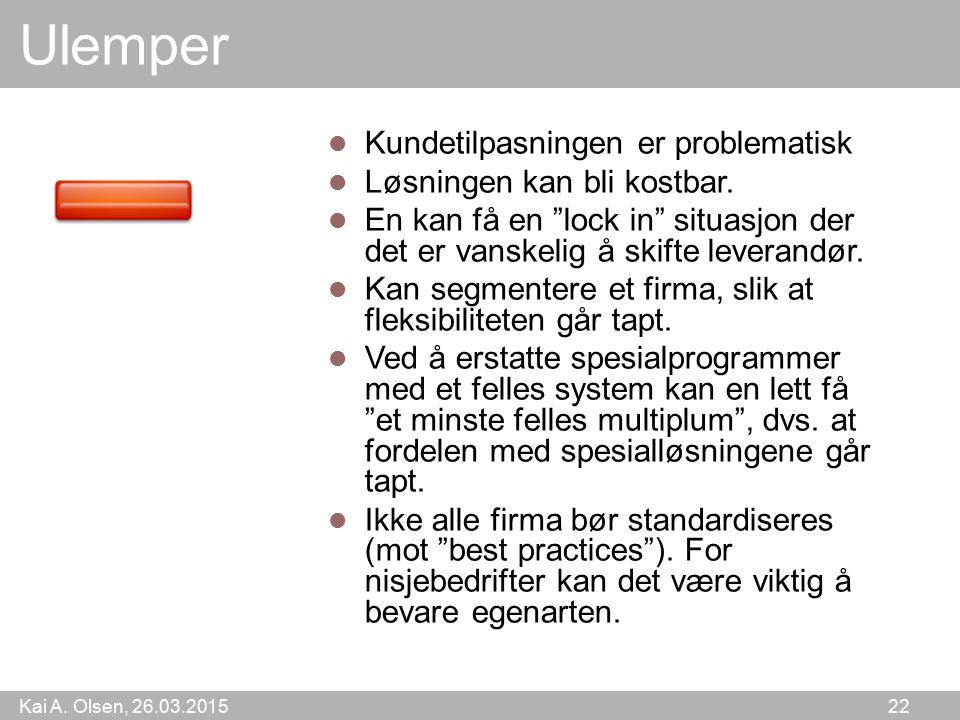 Kai A. Olsen, 26.03.2015 22 Ulemper Kundetilpasningen er problematisk Løsningen kan bli kostbar.