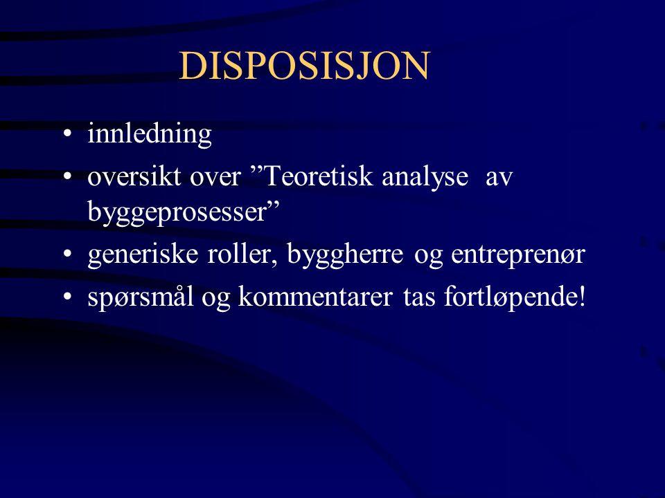 BRUKS- FASE REKLAMA- SJONER, FDV-U GJENNOM- FØRINGSFASE DETALJPROSJEKTERING FYSISK PRODUKSJON OG MONTASJE UTVIKLINGS- FASE DEFINERINGSFASE FYSISKE LØSNINGER YTRE PREMISSER GJENNOMFØRING BYGGEPROSESSENS FASER IDEFASE IDENTIFISERINGSFASE VISJON - MÅL -RAMMER YTRE PREMISSER BYGGEPROSESSEN PROGRAMMERINGSPROSESS PROSJEKTERINGSPROSESS