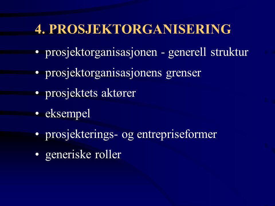 4. PROSJEKTORGANISERING prosjektorganisasjonen - generell struktur prosjektorganisasjonens grenser prosjektets aktører eksempel prosjekterings- og ent