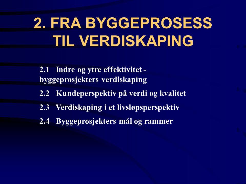 2. FRA BYGGEPROSESS TIL VERDISKAPING 2.1 Indre og ytre effektivitet - byggeprosjekters verdiskaping 2.2 Kundeperspektiv på verdi og kvalitet 2.3 Verdi