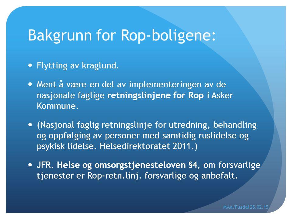 Bakgrunn for Rop-boligene: Flytting av kraglund. Ment å være en del av implementeringen av de nasjonale faglige retningslinjene for Rop i Asker Kommun