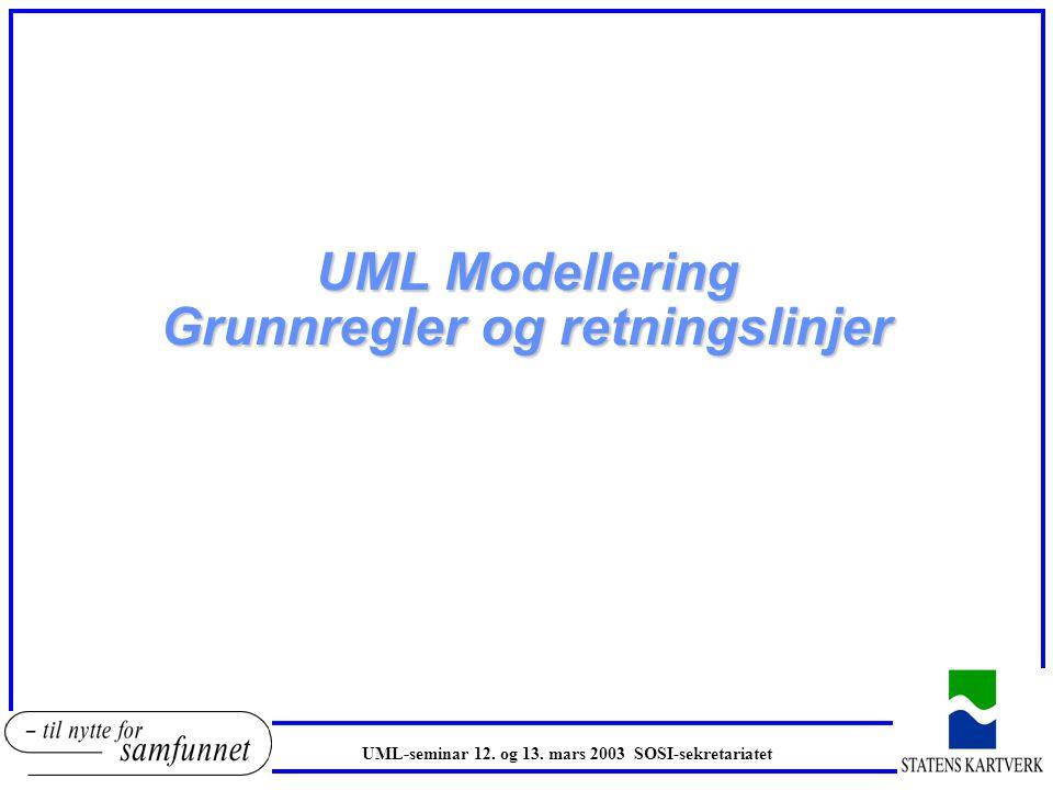 UML Modellering Grunnregler og retningslinjer UML-seminar 12. og 13. mars 2003 SOSI-sekretariatet