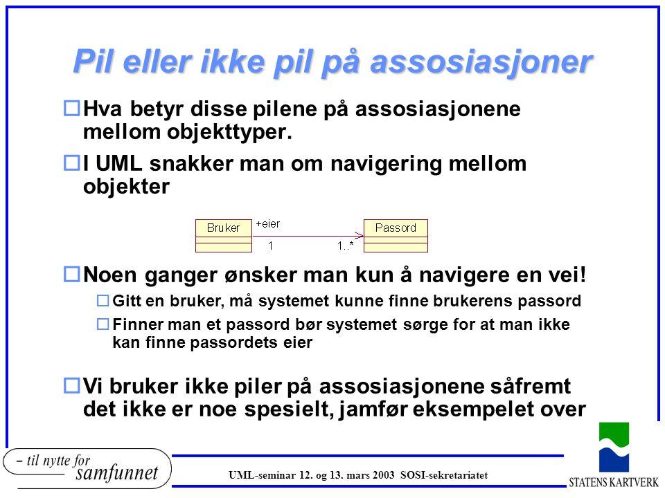 Pil eller ikke pil på assosiasjoner oHva betyr disse pilene på assosiasjonene mellom objekttyper. oI UML snakker man om navigering mellom objekter oNo