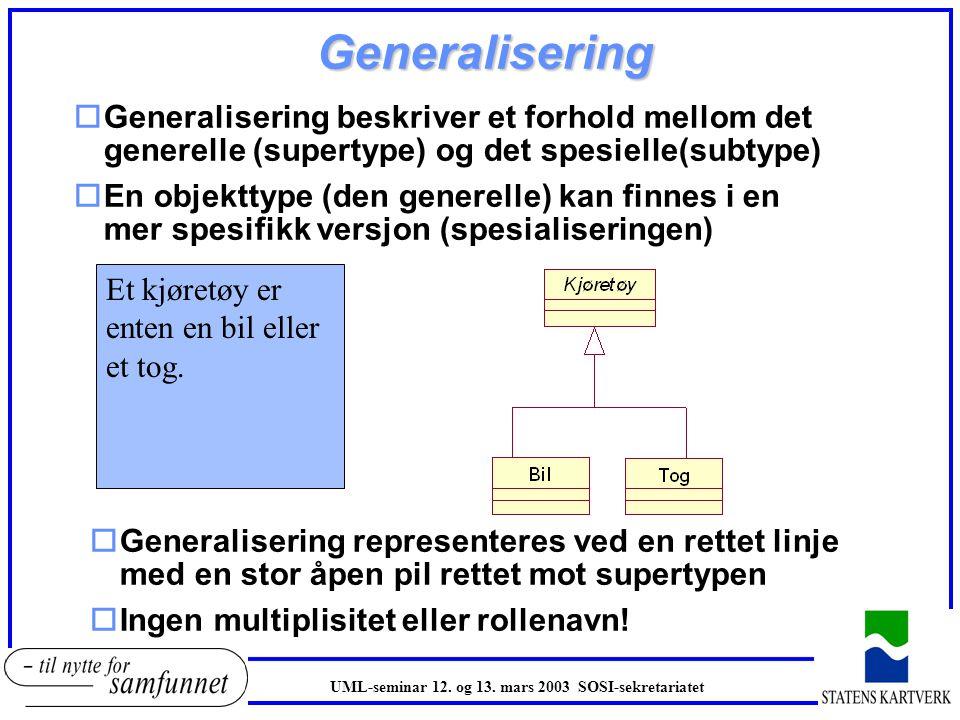 Generalisering oGeneralisering beskriver et forhold mellom det generelle (supertype) og det spesielle(subtype) oEn objekttype (den generelle) kan finn