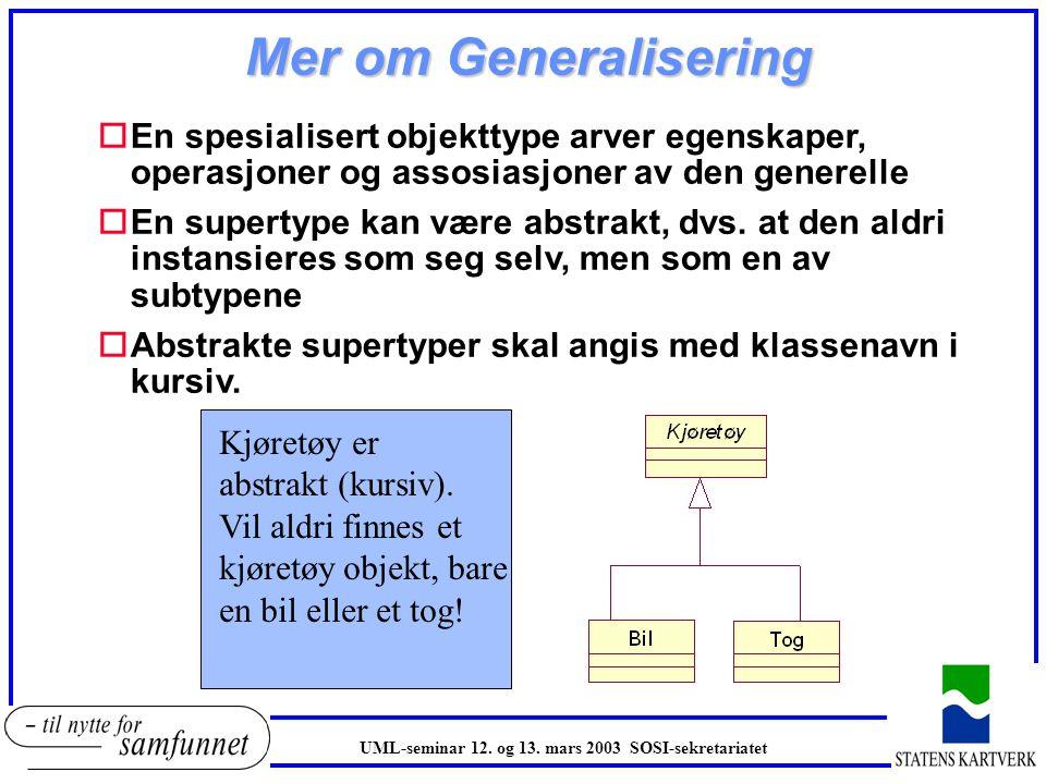 Mer om Generalisering oEn spesialisert objekttype arver egenskaper, operasjoner og assosiasjoner av den generelle oEn supertype kan være abstrakt, dvs