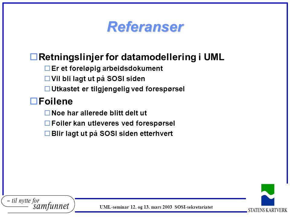 Referanser oRetningslinjer for datamodellering i UML oEr et foreløpig arbeidsdokument oVil bli lagt ut på SOSI siden oUtkastet er tilgjengelig ved for