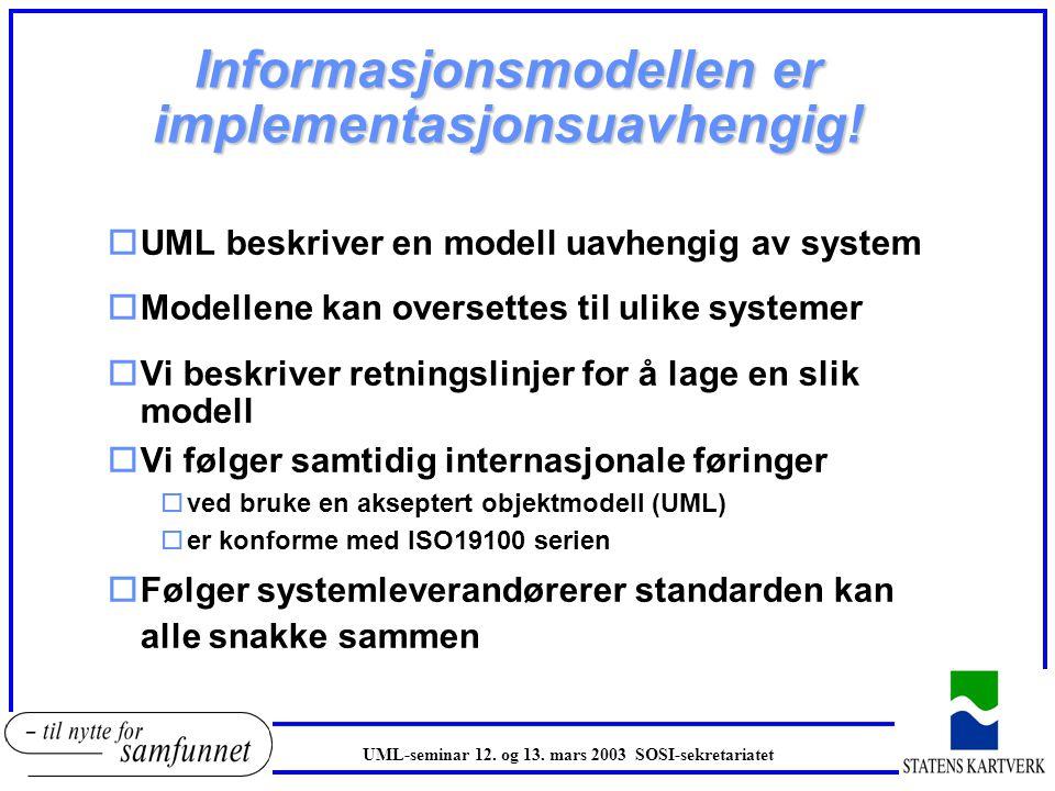 Informasjonsmodellen er implementasjonsuavhengig! oUML beskriver en modell uavhengig av system oModellene kan oversettes til ulike systemer oVi beskri